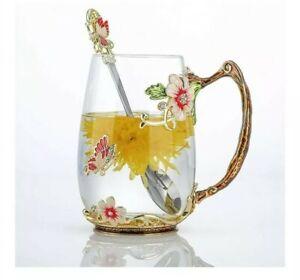 Luka Tech Red Enamel Butterfly Flower Glass Coffee Mug with Spoon