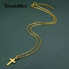 Crucifix Pendant Necklace Chain Jewelry Gold Plated Stainless Steel Jesus Cross