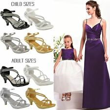 New Womens Ladies Girls Low Heel Bridal Wedding Sandal Kids Diamante Shoes Size