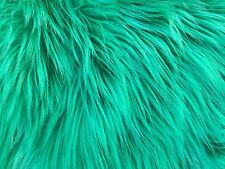 """Green Luxury Long Pile Faux Shag Fur Fabric - Sold By The Yard - 60"""""""