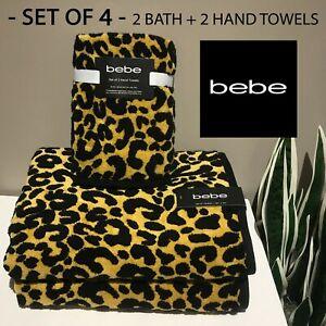 SET OF 4 New bebe 2 Hand Towels + 2 Bath Towels Soft Yellow Black Leopard Print