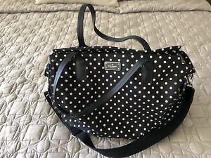 kate spade black avenue taden black and white polka dot diaper bag