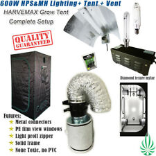 "Quality Mylar Grow Tent 1x1x2M Hydroponic 600W Mag HPS MH Lamps 4"" Fan Filter"