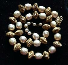 MIRIAM HASKELL BAROQUE PEARL NECKLACE with RIBBED BICONE RUSSIAN GOLD BEADS Sgnd
