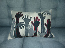 Pier 1  20 x 14 ZOMBIE HANDS Embroidery Decorative Throw Pillow BN Sold Out