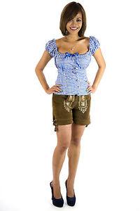 Damen Trachtenset Damen Trachten Lederhose kurz incl Trachtenbluse Gr.34-36-38-