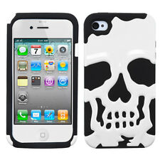 APPLE iPHONE 4 4S SKULLCAP HARD COVER+SILICONE HYBRID CASE WHITE/BLACK