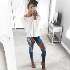 Womens Baggy Loose Long Sleeve T-shirt Tee Criss Cross Back Pullover Jumper Tops
