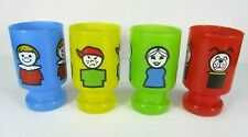 Vtg Fisher Price Little People Complete Set Anchor Hocking Juice Glass Cup Rare