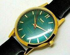 hmt sona hand winding men's gold plated green dial 17 jewel vintage india watch