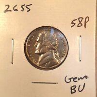 1958 P Jefferson Nickel Gem BU from OBW roll