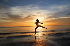 2017 19X33 PHOTO ON ALUMINIUM SUNSET DANCER BALLET MARCO ISLAND BEACH FLORIDA