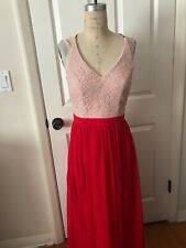 9311f4c3c50 City Triangles Dress Long Lace Chiffon Skirt Red Prom Gown NEW jr. 7