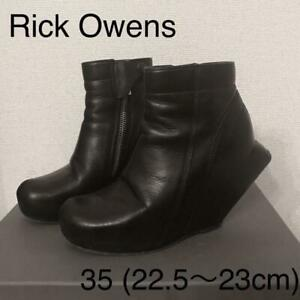 Rick Owens Turbo Wedge Heel Boots Leather Shoes Women's EU 35 Rare From Japan