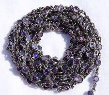 5 Feet Amethyst Zircon Round Coin Briolette Bezel / Connector Black Plated Chain