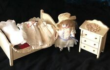 Antique 5 1/2 inch all Bisque with bed, bedding, dresser, extra clothes