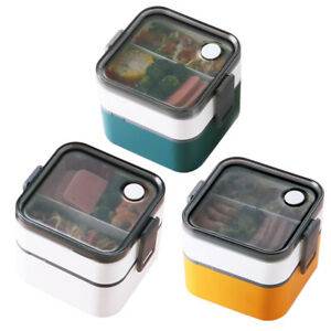 2 Tier Portable Lunch Food Box Container Microwave Oven Bento Box with Cutlery