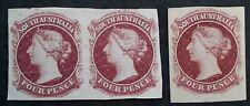 1860-69 South Australia 4d Plate Proof Pair&Single Perkins Bacon Claret stamps