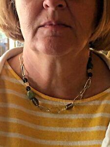 Silpada Sterling Silver Link Jade Citrine Smoky Quartz Necklace N1218 Retired