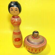 2 Set Vintage KOKESHI Japanese Wooden Doll Collectible Signed EJIKO Baby Small