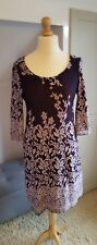 Size 12 Purple Fit & Flare Dress with STRETCH - 3/4 sleeves