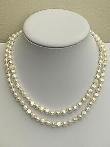 "36"" Long White Cultured Baroque Pearl Necklace Sterling Silver Hand Knotted"