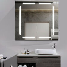 Bathroom LED Lighted Mirror Cabinet Cupboard Double Sided Mirrors 2 Doors JM1339