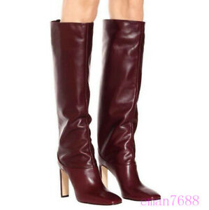 Women Size 34-43 Knee High Boots Fashion High Heels Boots Square Toe Footwear Sz