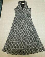 Evan Picone black/white floral print stretch sleeveless evening dress Sz 8P