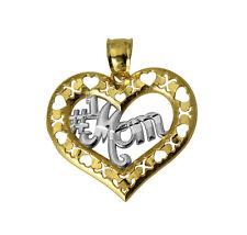 14k Yellow White Gold #1 Mom CZ Heart Charm Pendant