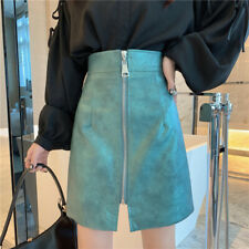 Women Faux Leather Skirt Chic High Waist A-line Zip Lady Half Body Slit Dress