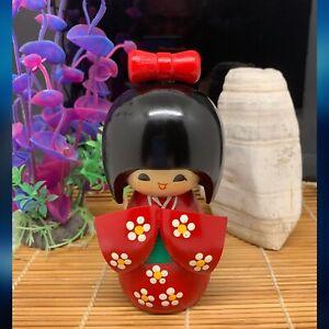 Kokeshi Doll Wooden Japanese Creative Artist • Floral Kimono • Stamped Base VGC