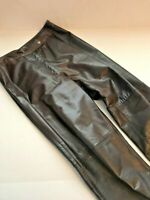 Authentic BCBG MAXAZRIA Brown Genuine Leather Bootcut Pants Size 4 MADE in USA