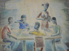 original 1940s PAINTING BLACK NEGRO FAMILY MOTHER & BOYS RUSSELL JAMAICA BWI