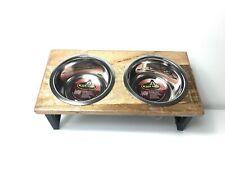 Loving Pets Black Label Top Raised Diner Wood 1 Pint Rustic Farmhouse Dog Bowls