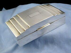 STERLING SILVER ART DECO ANTIQUE DESKTOP CIGARETTE JEWELLERY TRINKET BOX CASE