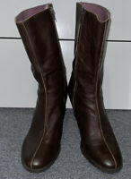 Womens American Eagle Outfitters Brown Leather Heeled Boots Size 10M