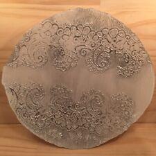 "FRENCH LACE ""Silver & White"" Beautiful Ornamental Dish Decorative Glass Plate"