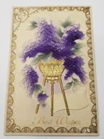 Best Wishes Embossed Airbrushed Purple Flowers in Golden Stand, Nice Postcard D8