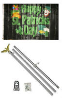 3x5 Happy St. Patricks Day Black Flag Aluminum Pole Kit Set 3'x5'