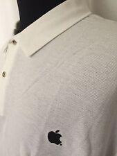 Apple Polo Shirt Mens 2XL XXL White Embroidered Black Apple