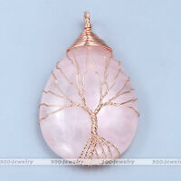 NEW Rose Quartz Gemstone Copper Wire Wrapped Teardrop Handmade Pendant Necklace