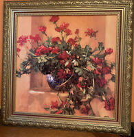 "Still Life Painting Of Red Poppies , Oil On Wood, 31""x 31"" Signed,Beautiful Fram"