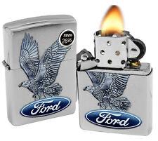 Zippo 29296 Ford Motor Company Eagle Brushed Chrome Finish Windproof Lighter New