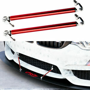 "Red 8""-11"" Adjust Bumper Lip Splitter Rod Strut Tie Bar Support For Mazda Volvo"