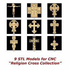 "9 3d STL Models - "" Religion Cross "" Collection for CNC Artcam 3d Printer Laser"