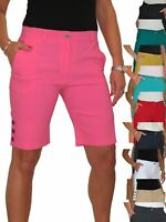 Womens Stretch Above Knee Length Shorts Mid Rise Bermuda 3 Side Buttons 8-22