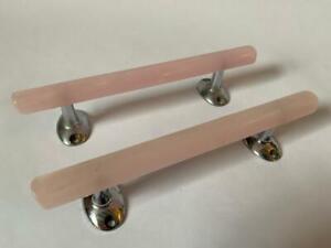 2x Vintage Retro Wilbec Pink Pearl Plastic Cupboard Drawer Pull Handles #IM1467