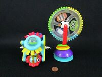 Sassy Rainbow Ferris Wheel Rattle + Spinner Suction High Chair Toy Lot of 2
