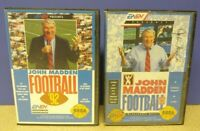 John Madden NFL Football 92 + 93 EA - Sega Genesis Working Tested - 2 Game Lot